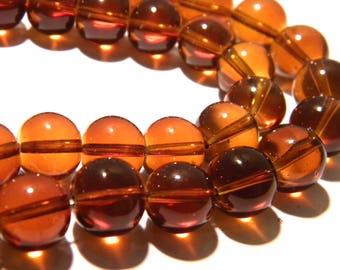 10 pearls 12 mm translucent glass - glass bead Round - Amber-K14