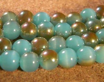 10 pearls 8 mm brass plated - imitation jade - blue-PE199-1