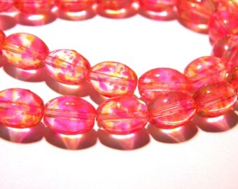10 glass beads oval - 11 x 8 mm-fuchsia - painted - tranparent glass bead F180-1