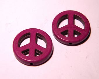 4 flat peace and love beads - 20 mm - howlite-violet-PG129 way