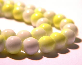 60-6 mm - 2 colors-neon glass beads and white-light glass - 4 G55