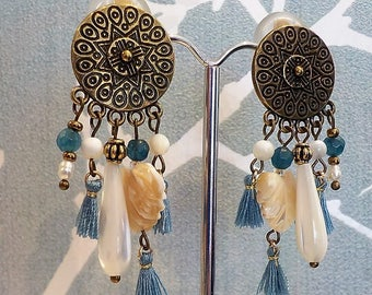Bronze and blue clip earring