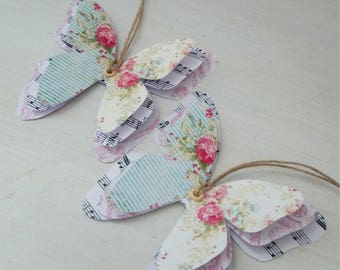 Shabby Chic style 2 tags paper butterflies