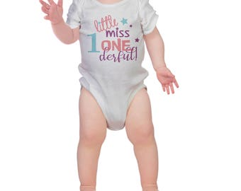 first  Birthday  girls Kids  T-Shirt, Childrens Toddlers T Shirt Top. little miss onederful