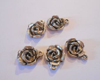 5 antique silver charms pink size 1.8 x 1. 3 cm