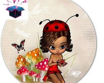 1 glass cabochon 16 mm for loop or ring miss Ladybug theme