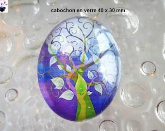 1 40x30mm theme tree of life glass cabochon