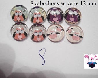 8 glass cabochons 12 mm for loop theme OWL / OWL number 8