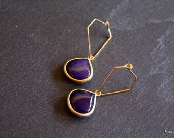 Plated gold blue lapis lazuli glass pendants