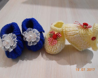 Baby 0/3 months booties 2 pairs