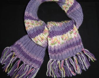 girl scarf multicolor purple tones