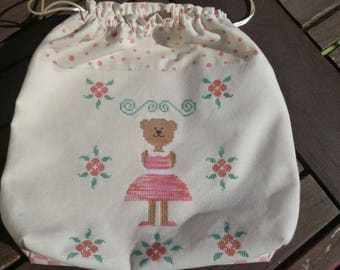 Embroidered for a little girl toys bag