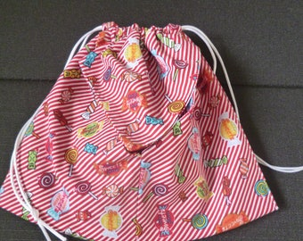 "origami fabric pouch red and white ""candy"""