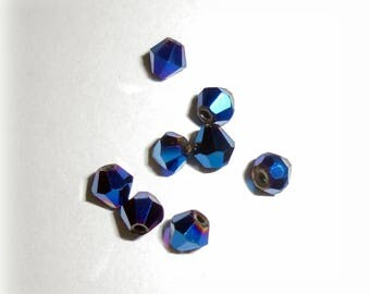 Bicone beads 3mm x 3.5 mm deep iridescent - 10 Blue Crystal