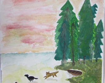 Watercolour painting, Watercolour, Lake, dogs, Watercolour art, Wall decor, Wall art, watercolour print, painting, nature