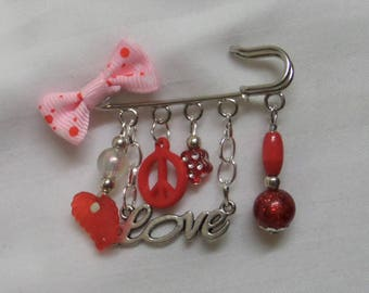 Safety pin brooch glass beads and charms, Dragon
