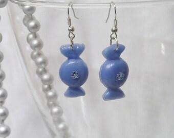 Candy blue with Rhinestone earrings