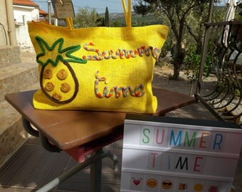 "Yellow straw bag ""summer time"""