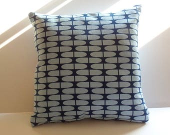 Square Pillow Cover, 20x20 inches, Zipper Closure, Blue Geometric Barkcloth Fabric Organic Cotton