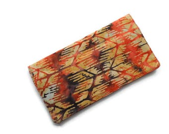 "Fabric Checkbook Cover 6.5""x3.5"", Coupons Wallet, Cash Holder Batik"