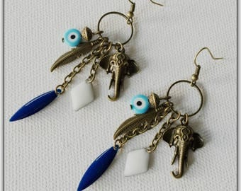 Sequins, elephant, Gypsy boho earrings