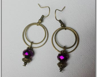 Bronze rings and earrings plum Pearl