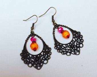 Earrings ethnic, Gypsy, Bohemian, colourful, orange and fuchsia, summer