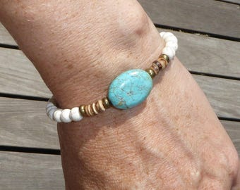Coconut wood and turquoise bracelet