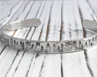 The Mountains are Calling and I Must Go Inspirational Aluminum Cuff Bracelet, Hand Stamped Bracelet, Secret Message Inspirational Bracelet