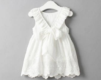 Girls Embroidered Dress - White