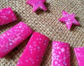 lot 5 2 stars and fuchsia acrylic beads