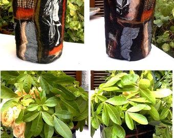 "Felted vase ""singular"" - art - silk and pure felted wool - OOAK"