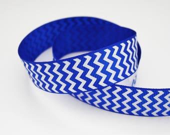 25 mm, 1 m blue and white Chevron Ribbon, Ribbon grosgrain Chevron print, non adhesive
