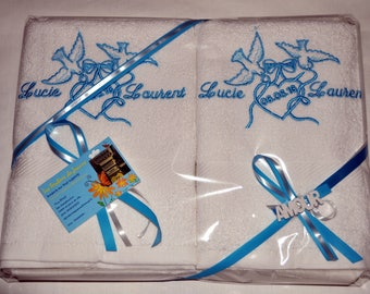 WEDDING NAPKINS personalized pair man and woman