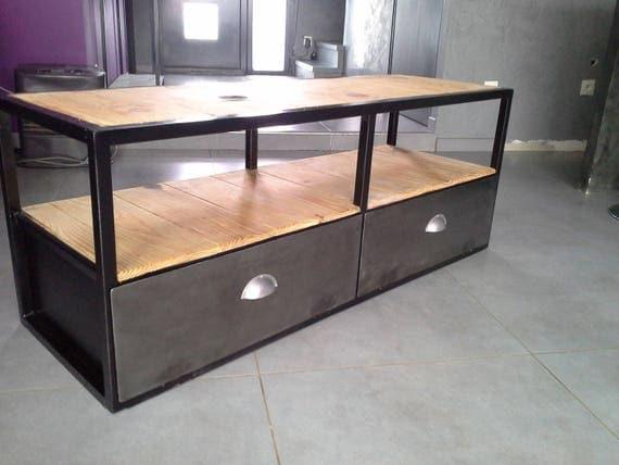 Meuble industriel tv acier bois vintage for Meuble acier industriel