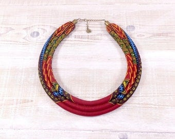 "Ethnic African ""dashiki Angelina"" fabric bib necklace multicolor and Burgundy tones"
