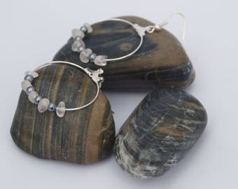 Earrings large hoops semi-precious beads