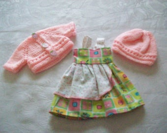 clothes for dolls 32/33 cm (dress, vest, hat) cotton print