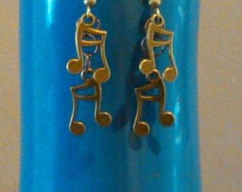 Bronze music note earrings