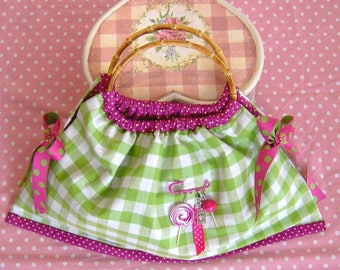 Green gingham cotton tote bag