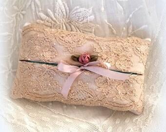Silk handkerchiefs case style high fashion, old beige lace