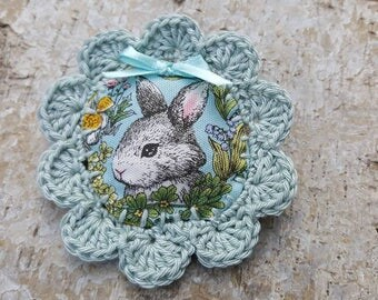 "Crochet textile brooch ""my lovely Bunny"""