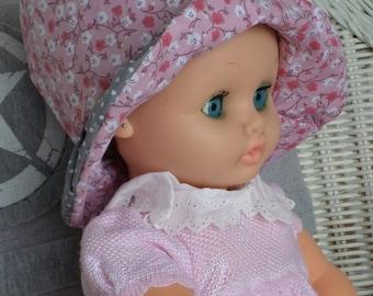 baby Sun Hat designer linen ' cotton eva was pink and gray
