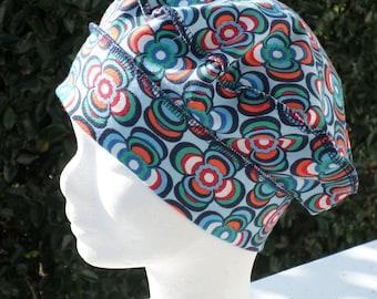 Turban bonnet béret chapeau chimio enfant jersey extensible fleurs bleu collection printemps 2018
