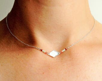 Necklace * should * Choker silver diamond pattern and Miyuki beads