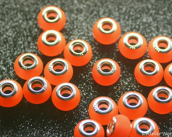 5 Charms color Orange Fluo 13 mm x 9mm acrylic beads