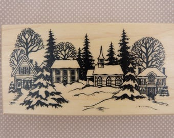 Wooden rubber stamp: snowy landscape