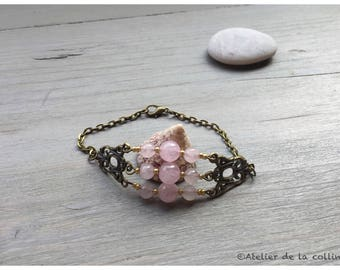Bracelet rose quartz and gold