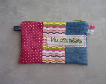 """Kit flat recycled jean """"my little ' little treasures"""" pink/green"""
