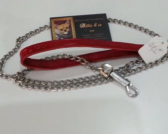 Chain and handle red leather dog leash